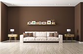 Modern interior of living room with beige sofa, shelf, side tables 3d rendering. All images, photos, pictures used in this interior are my own works, all rights belong to me.