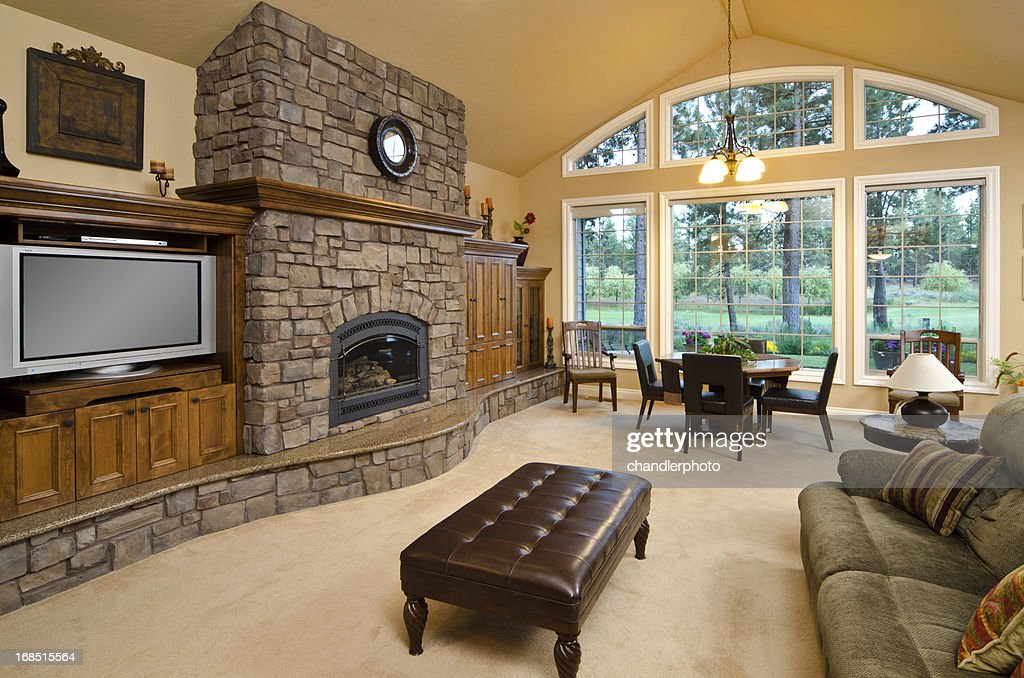 Living Room With Brick Fireplace modern living room with brick fireplace stock photo | getty images