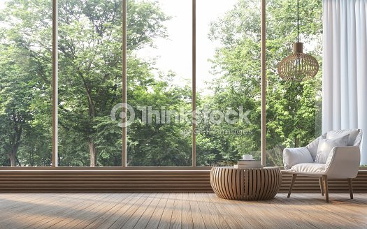 Modern living room with nature view 3d rendering Image : Stock Photo