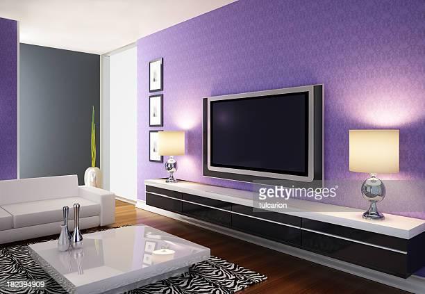 Moderna sala de estar con el televisor con pantalla de plasma