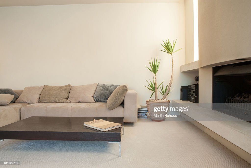 Modern living room with potted plant stock photo getty for Modern living room plants