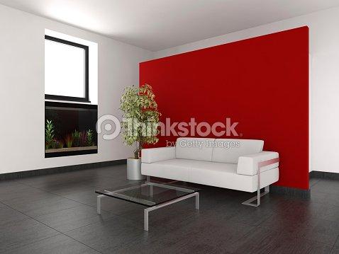 Moderno soggiorno con parete rossa e acquario foto stock for Parete rossa soggiorno