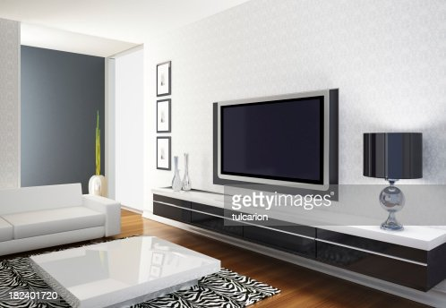 modernen wohnzimmer mit fernseher stock foto getty images. Black Bedroom Furniture Sets. Home Design Ideas