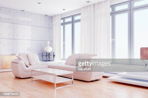 Modern living room with white decor
