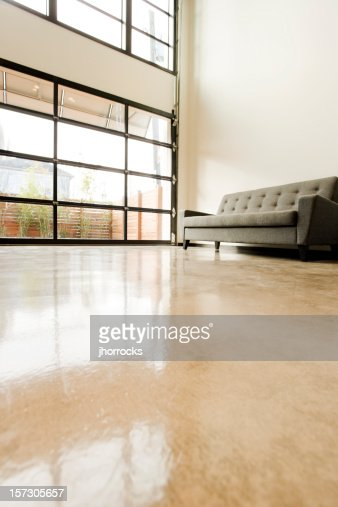 Modern Living Space with Polished Concrete Floor