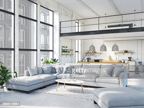 modern loft apartment. 3d rendering : Stock Photo