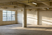 Clean and modern empty industrial warehouse interior in California without people. Cool urban feel of mid-century warehouse architecture that can be a place of work as well as an apartment loft. Large