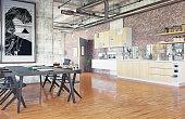 modern loft. kitchen zone concept. 3D rendering concept