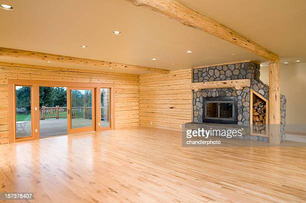 Modern log home empty living room