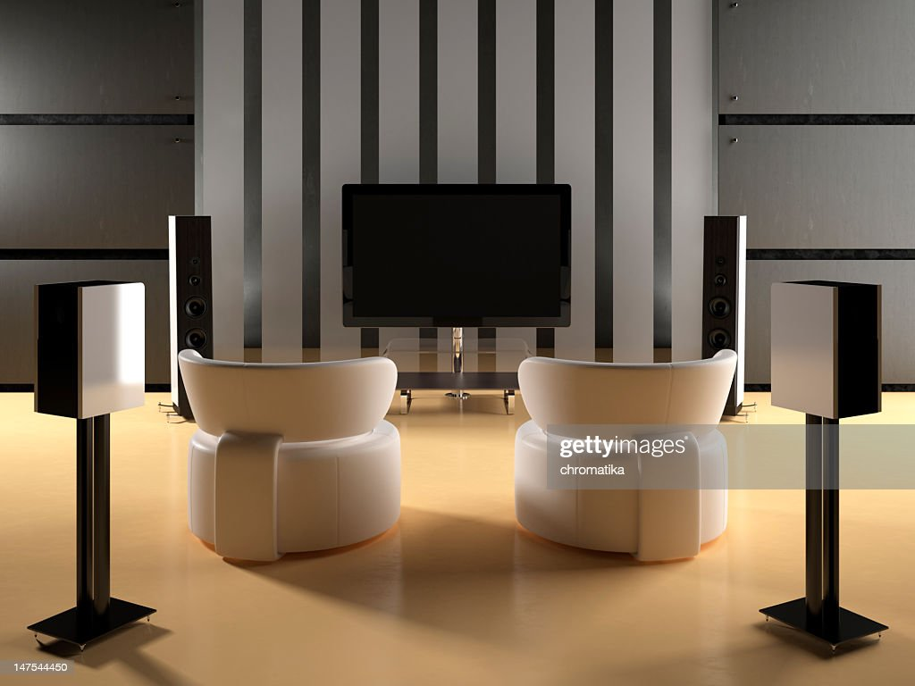 Modern room witn home theater : Stock Photo