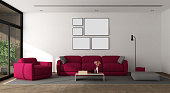 Modern living room with sofa,armchair and large window - 3d rendering
