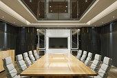 Interior of an empty boardroom.