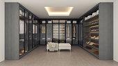 Modern luxury dressing room interior ,walk in closet , gray and black wardrobe design ,3d rendering