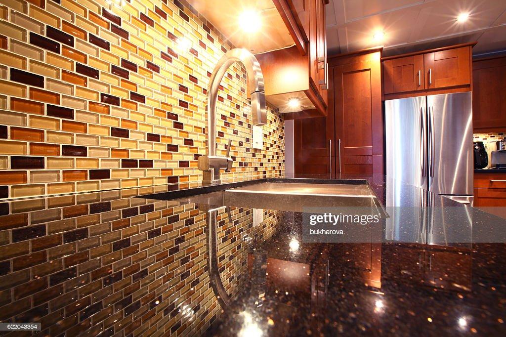 Modern Luxury Kitchen With Mosaic Backsplash And Granite : Stock Photo