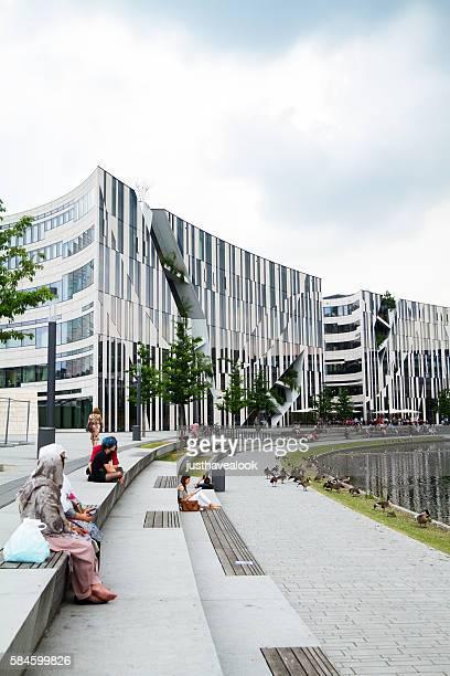 Modern mall and Düssel at park Hofgarten