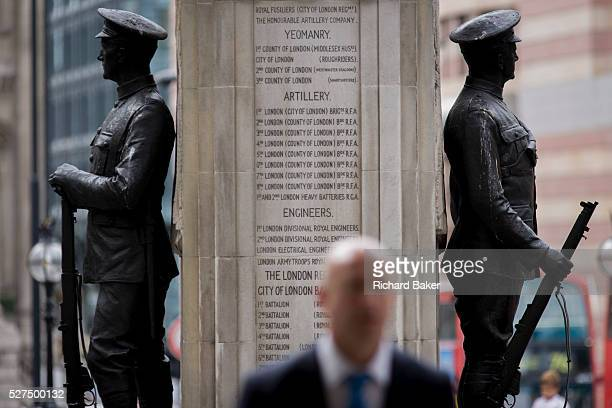Modern man and a lost generation of youth In the 100th year after WW1 started the war memorial heroes in Cornhill City of London remembering those...