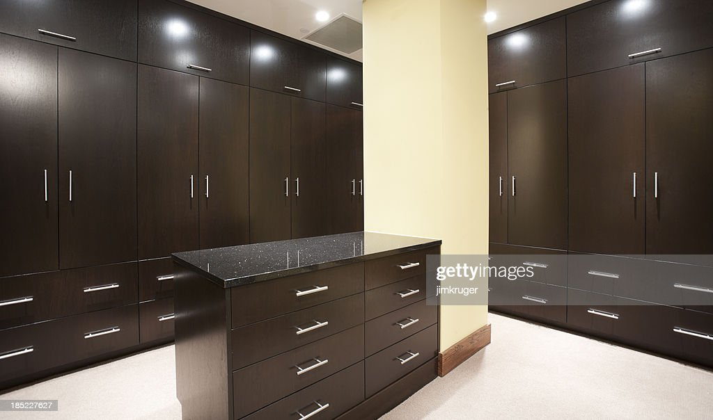 Modern Master Bedroom Closet With Dark Stain Stock Photo Getty