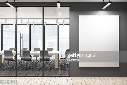 Modern meeting room with blank banner : Stock Photo