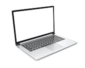 Modern metal office laptop or silver business notebook with blank screen isolated on white background. 3d illustration