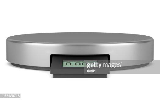 Moderna digital Balança de cozinha metálicos isolados no fundo branco : Foto de stock