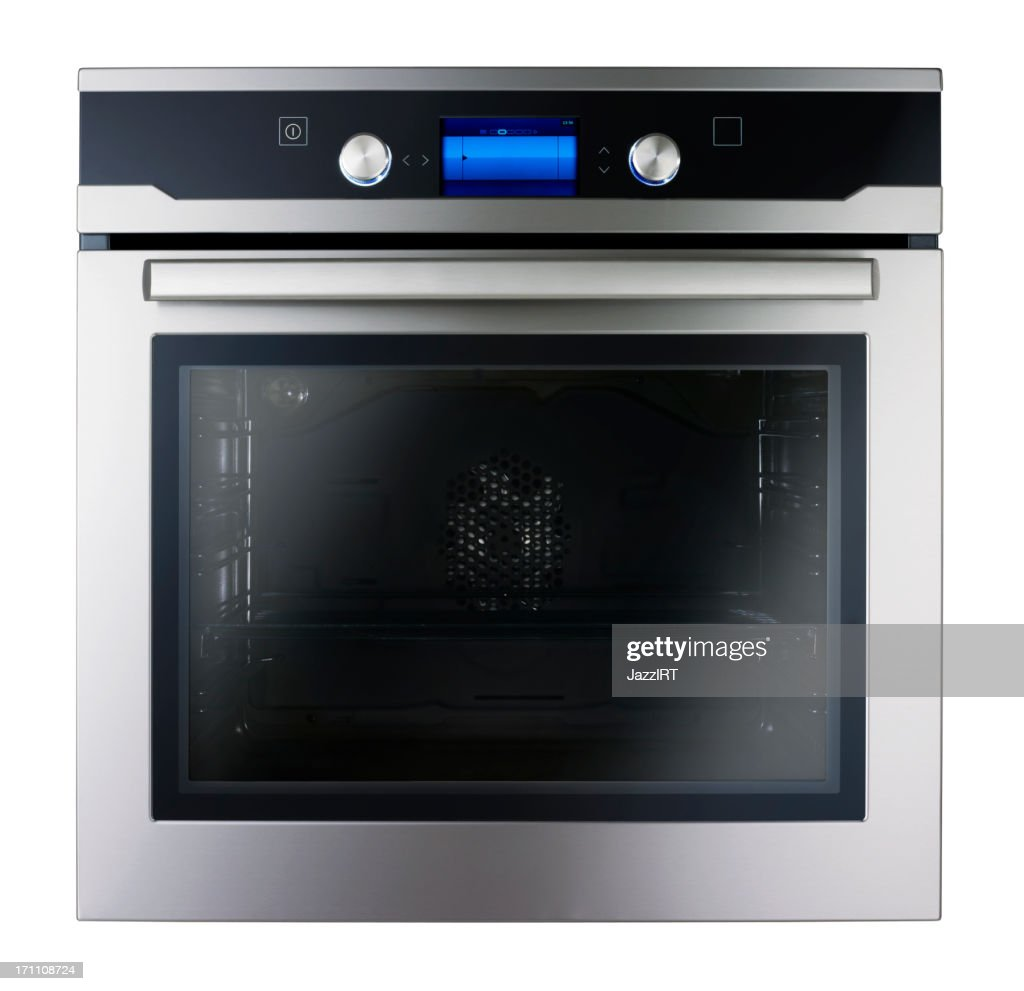 Modern metallic oven (isolated with clipping path over white bac