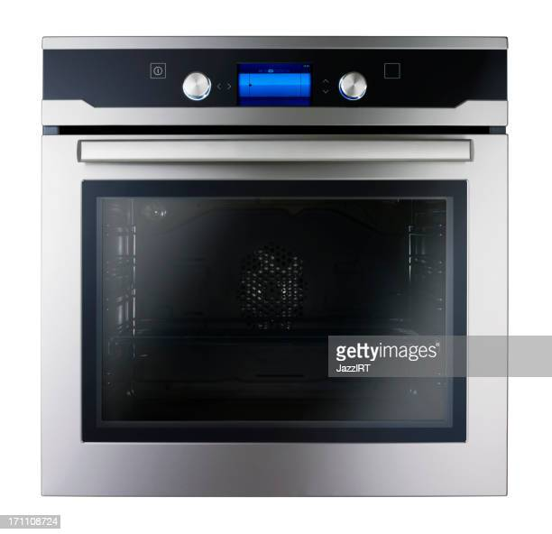 Modern metallic oven (isolated with clipping path over white background)