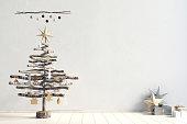 Modern minimalistic Christmas interior, Scandinavian style. 3D illustration. wall mock up