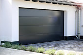 Modern new garage door (sectional door) on a residential home