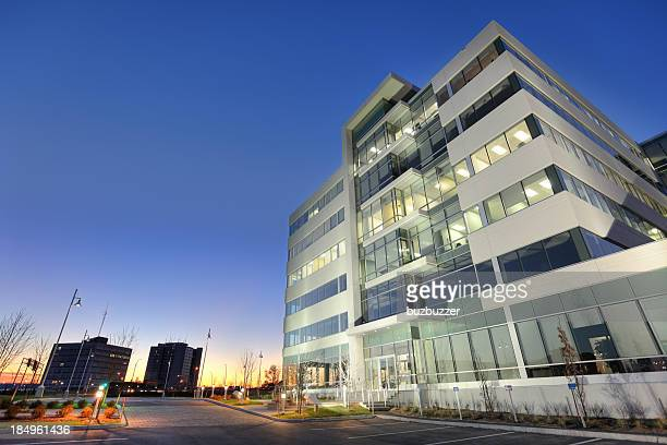 Modern Office Building at Sunset