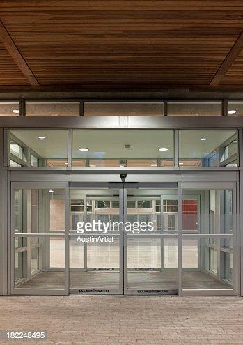 A modern office building entrance
