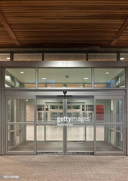 A modern office building entrance