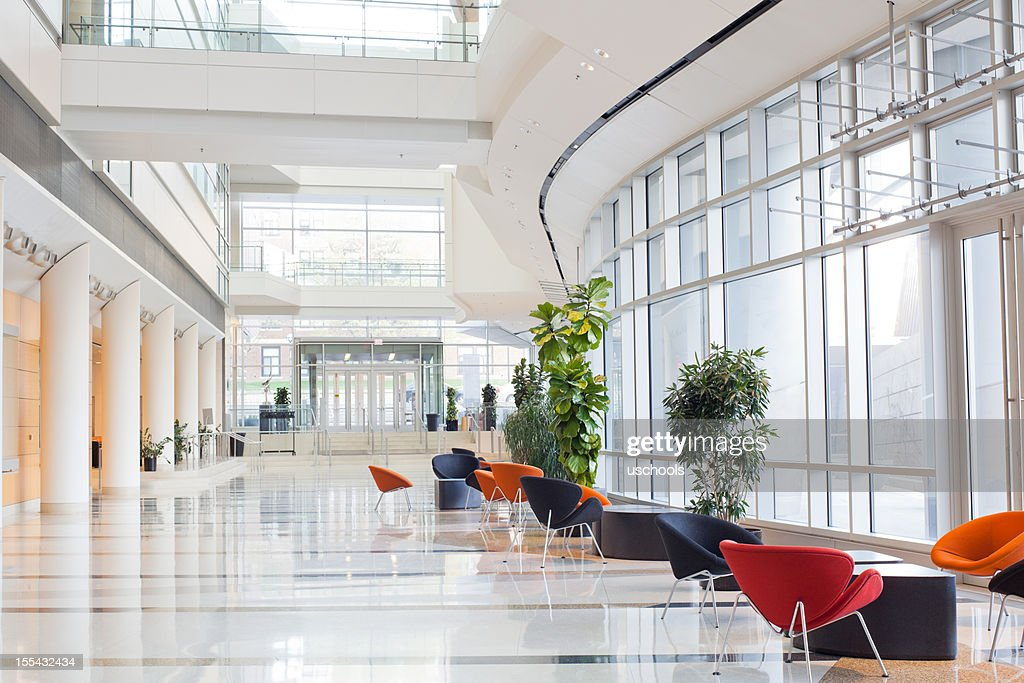 Modern Office Lobby With Glass Wall Stock Photo Getty Images