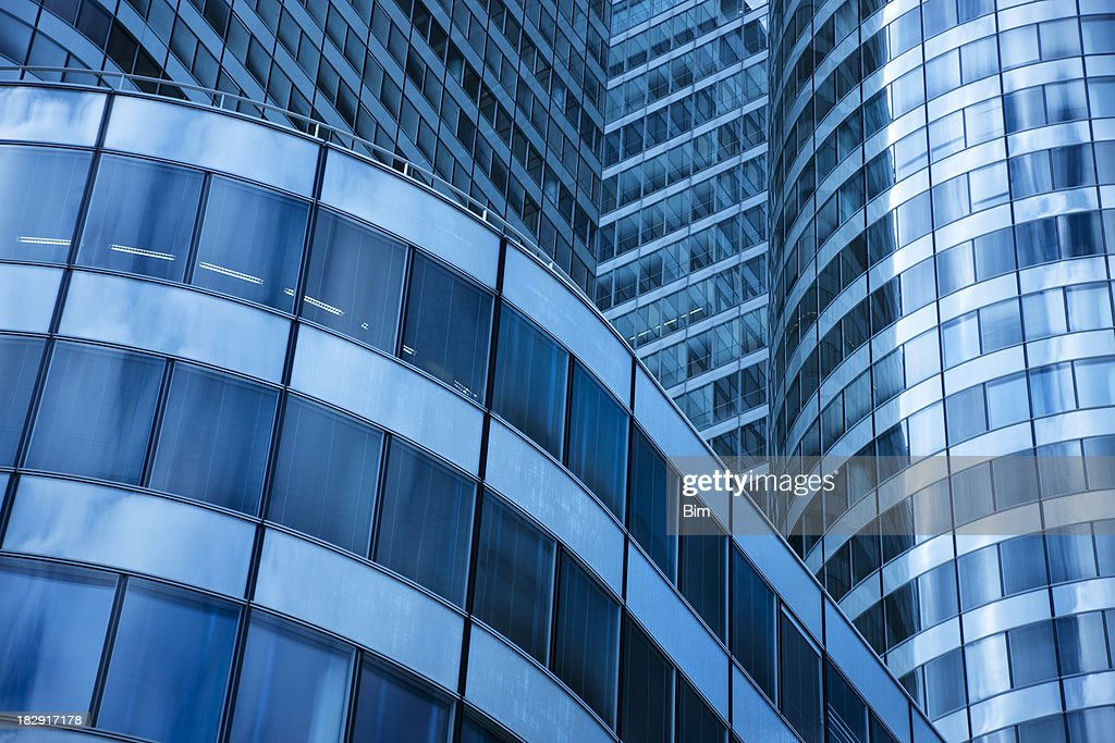 Low Angle View Of Modern Office Buildings Photo: Modern Office Building Low Angle View Stock Photo