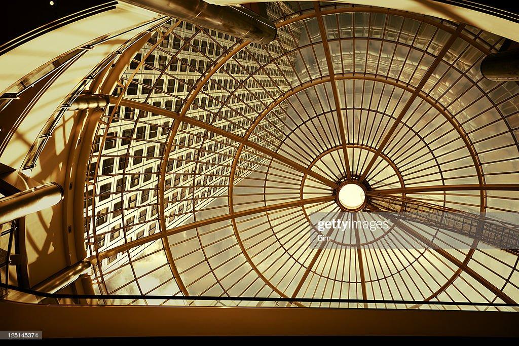 Modern Office Building Seen Through Glass Roof : Stock Photo