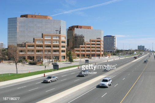 Modern Office Buildings on Toronto highway : Stock Photo