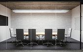 Empty contemporary office meeting room interior design.
