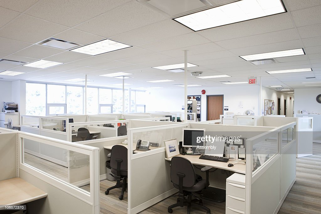 modern office space with cubicles : Stock Photo