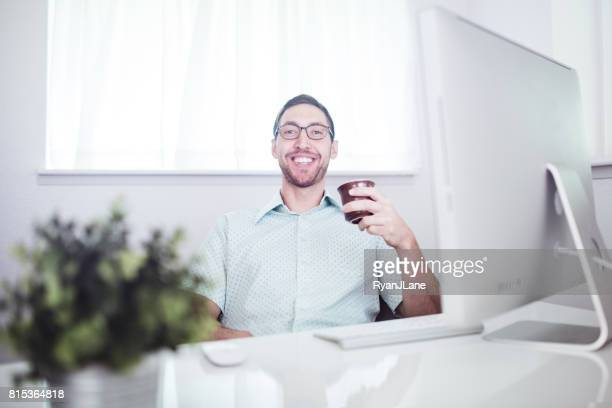 Modern Office Worker at Computer