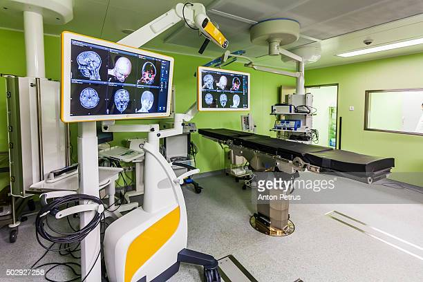 Modern operating with a surgical equipment. Neurosurgery.