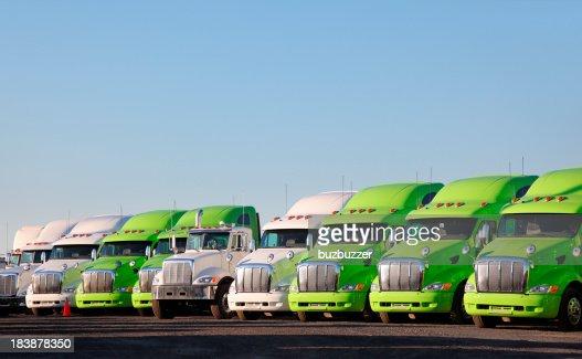 Modern Parked Truck Fleet : Stock Photo