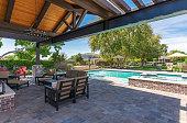 Photograph a modern pool exterior.
