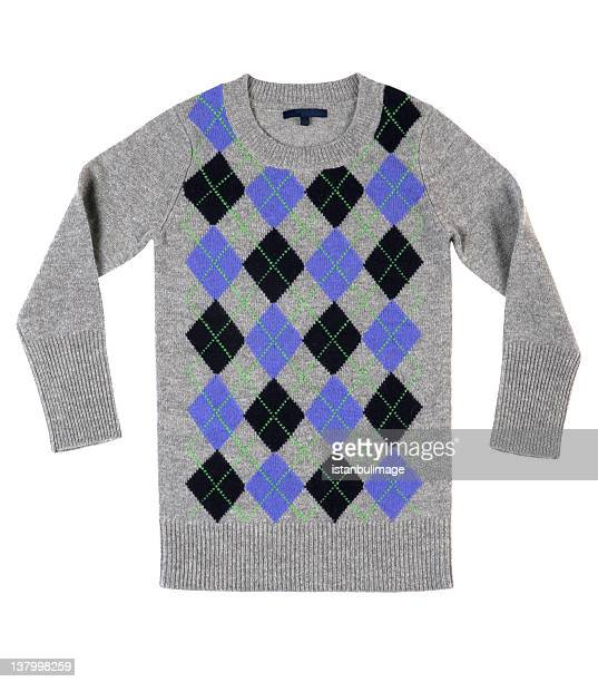 Modern preppy sweater in gray with black and blue