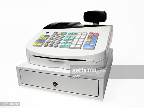 Modern Push button cash register isolated on white