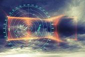 Modern radar digital screen above dark sky abstract background
