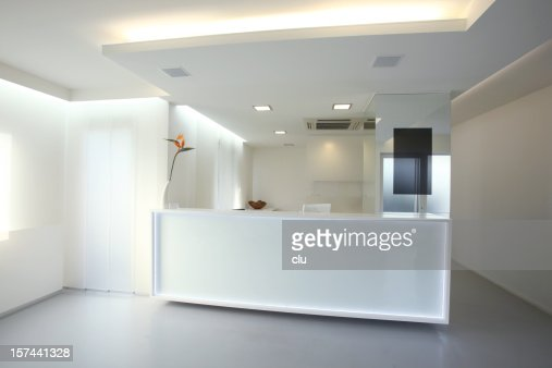 Modern reception desk in grey white color (XXXL)
