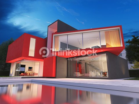 Modern red house : Stock Photo