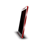 Modern red smart phone 3D white screen on white background