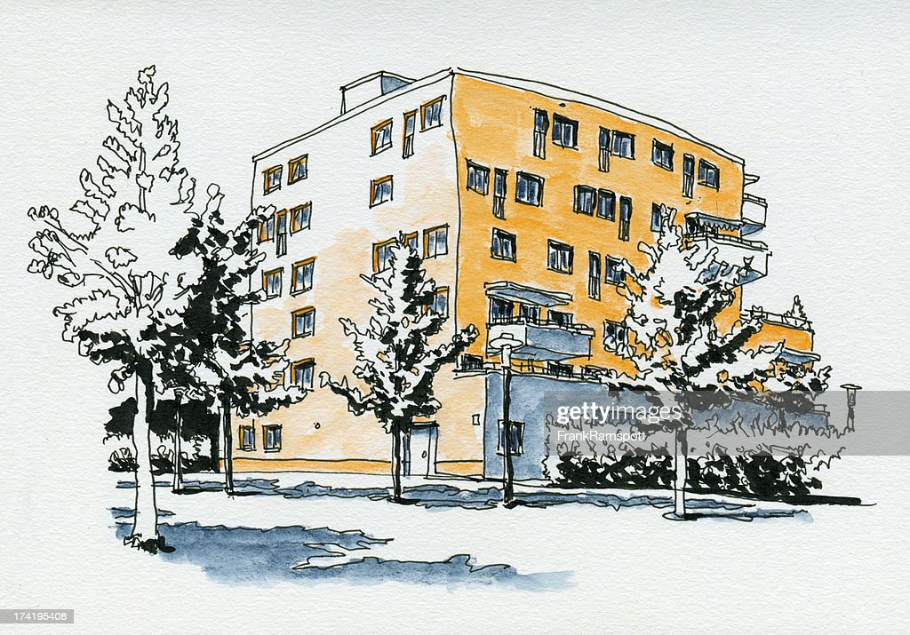 Modern Residential Building Watercolor Ink Sketch : Stock Photo