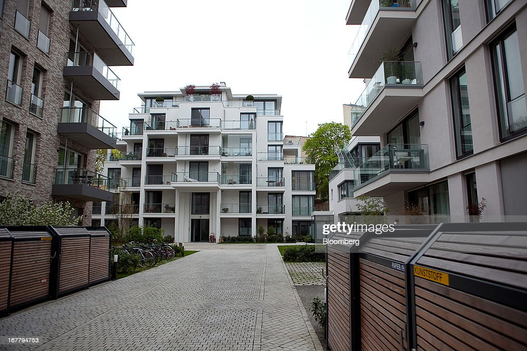Modern residential housing apartments are seen located in the Mitte district of Berlin, Germany, on Monday, April 29, 2013. Rents and home prices in Germany's largest cities are rising at the fastest rate in twenty years, according to data compiled by Bulwien Gesa AG. Photographer: Krisztian Bocsi/Bloomberg via Getty Images