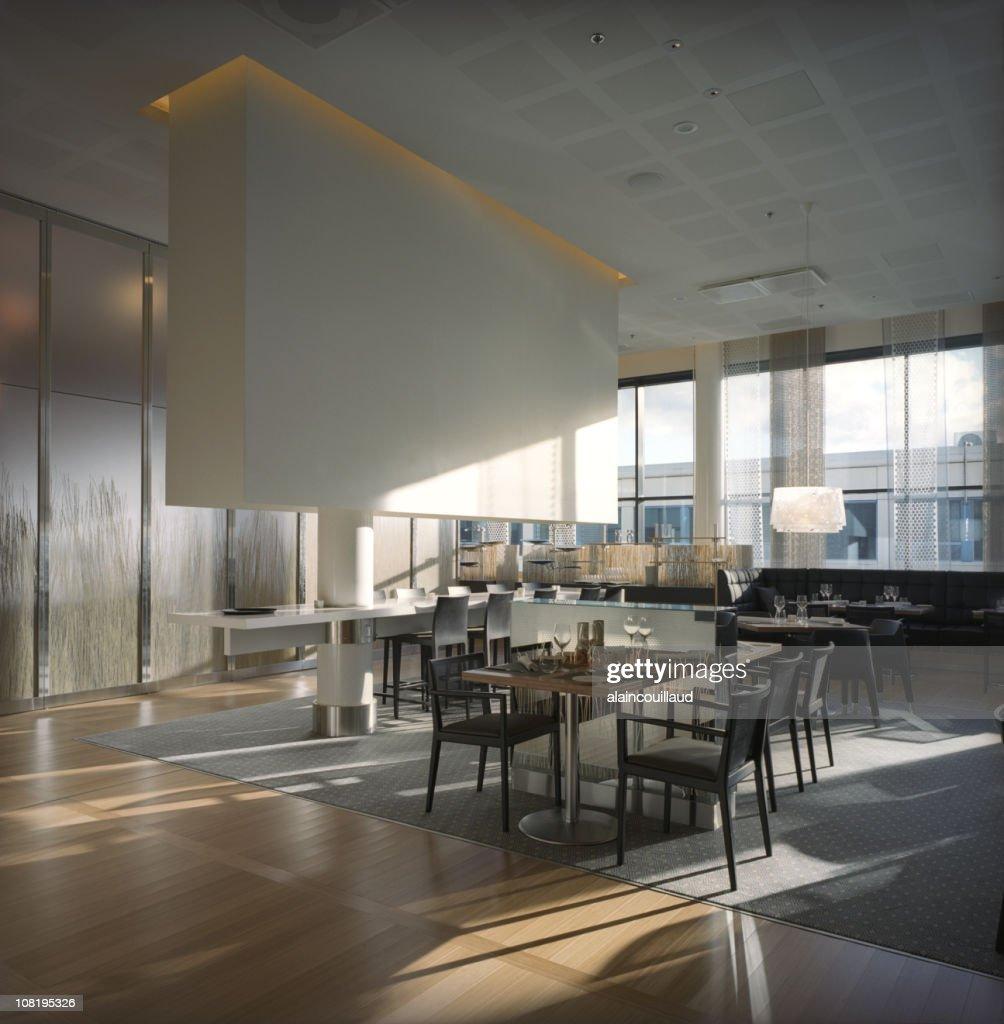 Modern Restaurant Interior with Large Glass Windows : Stock Photo